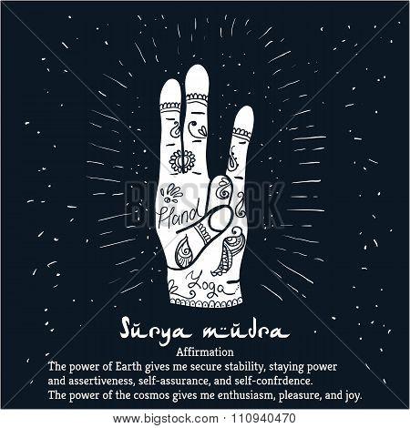 Element yoga Surya mudra hands with mehendi patterns.