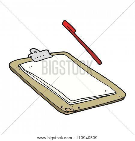 freehand drawn cartoon clip board