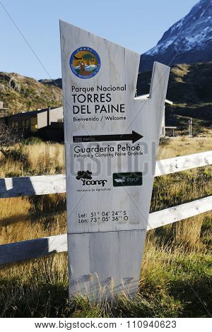 Sign at the entrance of Torres del Paine National Park, Patagonia, Chile