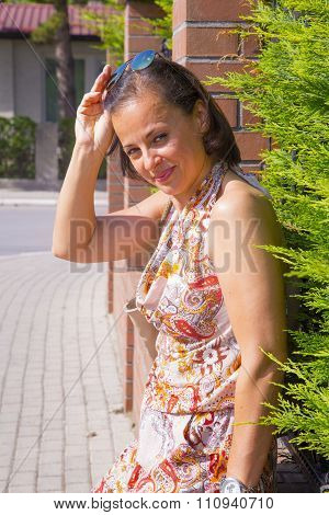 Woman With Sunglasses Posing Outdoor
