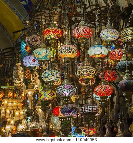 Ornate Glass Lights At Market Stall