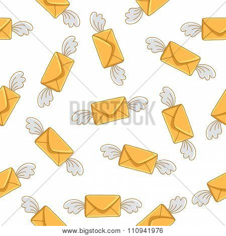 Seamless pattern of flying envelope