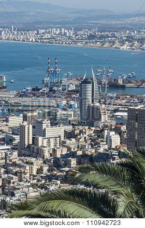 Panorama Haifa and the Bahai Gardens in Haifa, Israel