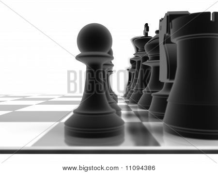 Close Up Shot Of A Set Of Black Chess Pieces