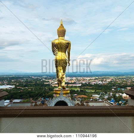 Buddha Statue At Wat Phra That Khao Noi, Landmark In Nan Province, Northern Of Thailand