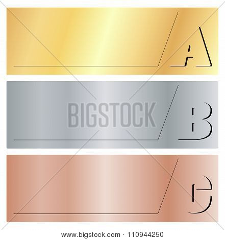 Vector Horizontal Banners With The Letters A, B, C, On Gold, Silver And Bronze Background