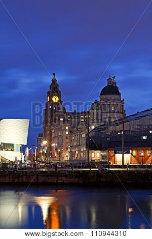 Liverpool Uk, December 8Th 2015. Liverpool waterfront lit up at night Liverpool Uk.