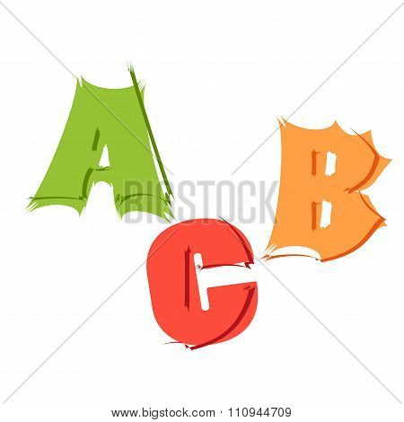 Vector Letters A, B, C, In Different Style