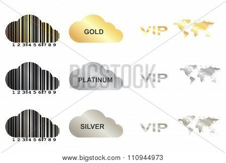 Vector Set With Gold, Silver And Platinum
