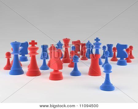 A Set Of Chess Pieces Against A Blank Background