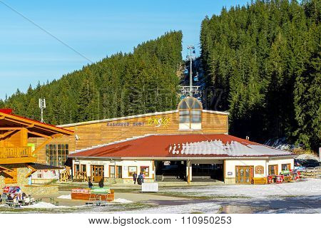 Bansko ski station at Banderishka, cable car lift, Bulgaria