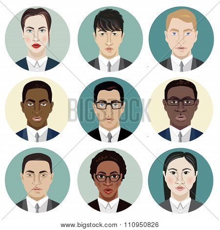 Icons Set of Persons Female Different Nationality in Trendy Flat Style