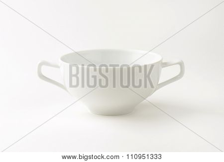 White soup bowl with two handles