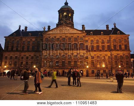 Amsterdam, Netherlands - December 5, 2015: Dam Square By Night O