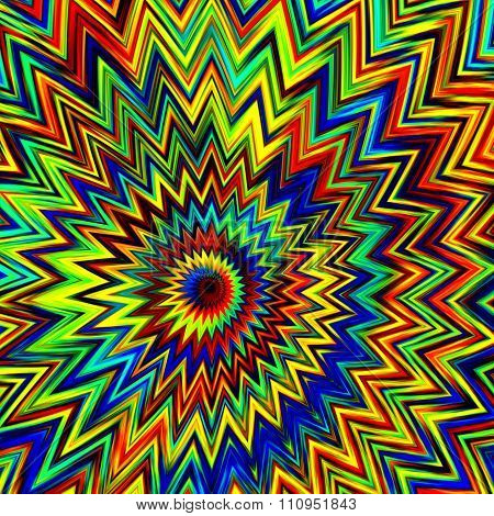 Coloruful psychedelic explosion. Geometric art deco. Funny ornate decor. Fun exploding mess.