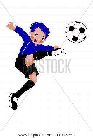 Striker boy playing soccer