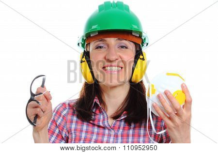 Woman With Protective Helmet, Headphones, Mask And Spectacles