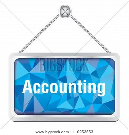accounting sign with silver metallic frame hanging on the wall