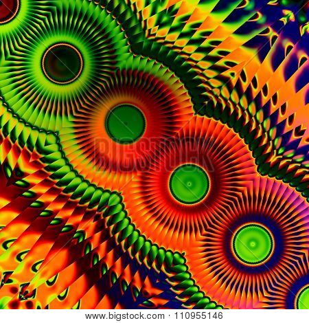 Colorful abstract art illustration. Loony image design. Round shape pattern. Artistic virtual pic.
