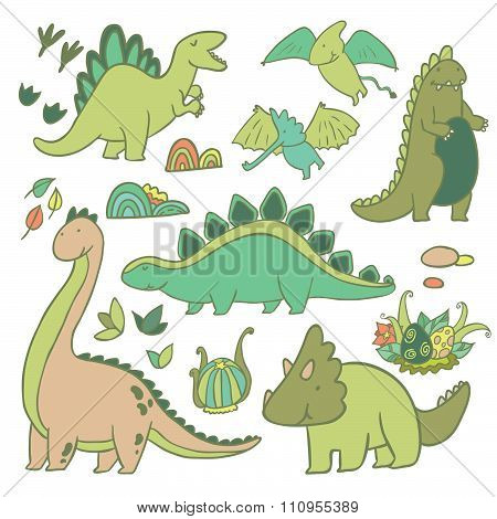 Adorable dinosaurs vector set
