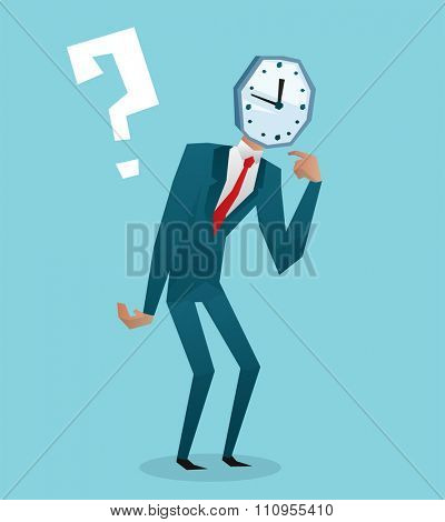 Businessman watch head vector illustration. Time business concept. Businessman clock time run. Businessman delay. Business man time concept situation. Business man watching clock time
