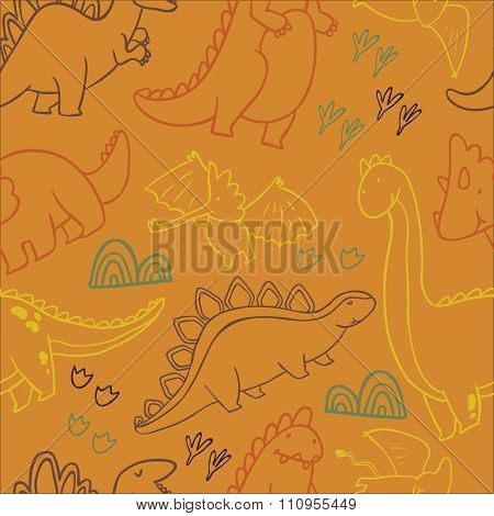Adorable dinosaurs. Seamless pattern for wallpapers, pattern fills, web page backgrounds,surface tex