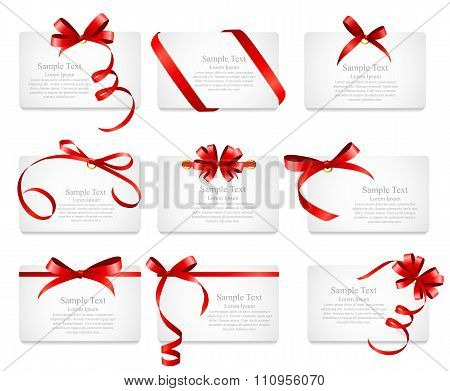Card with Red Ribbon and Bow Set. Vector illustration