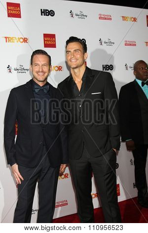 LOS ANGELES - DEC 6:  Jason Landau, Cheyenne Jackson at the TrevorLIVE Gala at the Hollywood Palladium on December 6, 2015 in Los Angeles, CA