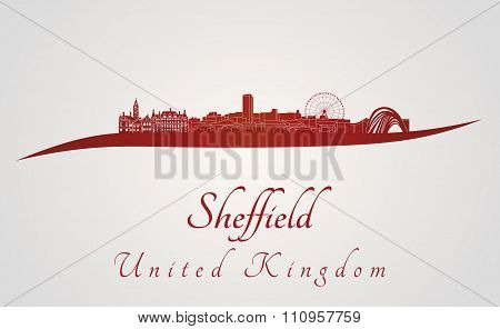 Sheffield Skyline In Red