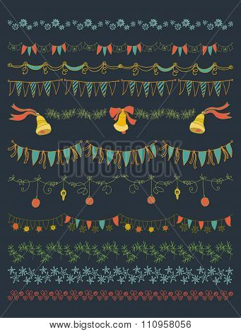 Vector illustration.  Set of Christmas and decorative elements.