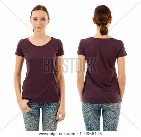 Serious Woman With Blank Dark Purple Shirt