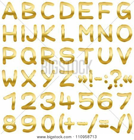 Font Alphabet Gold Type