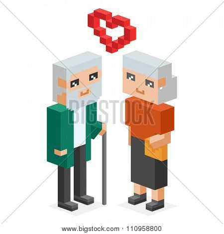 3d isometric old family couple in love celebrate wedding date. Love  old people 3d icons. Celebrate love date, weddding date, together concept. People wedding, valentine day. Loved couple