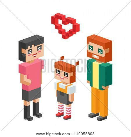 3d isometric family couples love hearts. Children, kids people concept 3d icons. Flirting, love, first date, wedding and parenting. Family together concept. People wedding, Valentine day