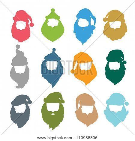 Portrait Santa Claus coloreful face icons silhouette. Santa face icons, mustache and santa hat icon. Santa hat icon. New Year 2016 santa face.Santa head vector. Santa Christmas greeting card. Santa