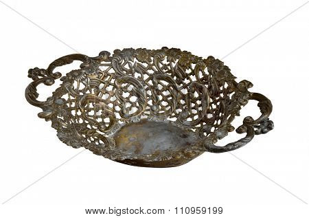 Antique epergne tray for fruits isolated on white background with path.