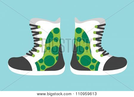 Snowboard sport clothes boots elements. Snowboarding elements isolated on background. Snowboard vector cloth, snowboard boots, snowboard tools. Snowboard winter sport equipment. Snow board