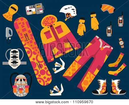 Snowboard sport clothes and tools elements. Snowboarding elements isolated on dark background. Snowboard vector cloth, snowboard jacket, snowboard board. Snowboard winter sport equipment. Snow board