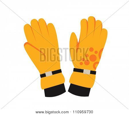 Snowboard sport clothes glove elements. Snowboarding  glove elements isolated on background. Snowboard vector cloth, snowboard  glove, snowboard board. Snowboard winter sport equipment. Snow board