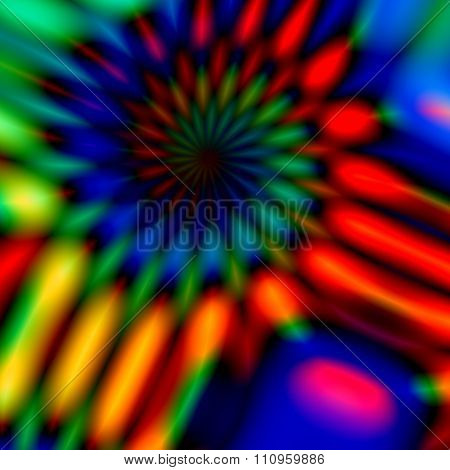 Colorful blurry spiral. Full frame design. Multi colored blur. Strange crazy shape.