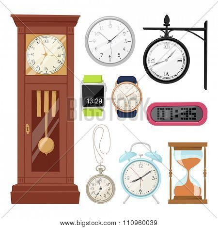 Clock watch alarms vector icons illustration. Clock icons isolated on white background. Clocks, watch silhouette. Old, retro, modern and fashion clocks. Time tools icons, alarm, watch icons isolated