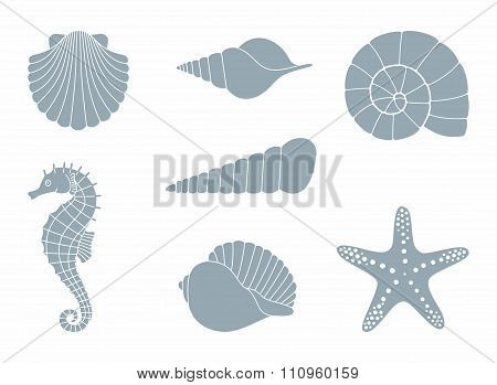 Silhouettes of sea inhabitants