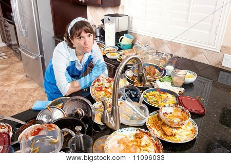 Woman Doing The Dishes