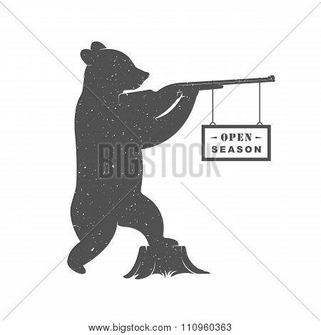 Vintage Illustration Of Bear With Gun
