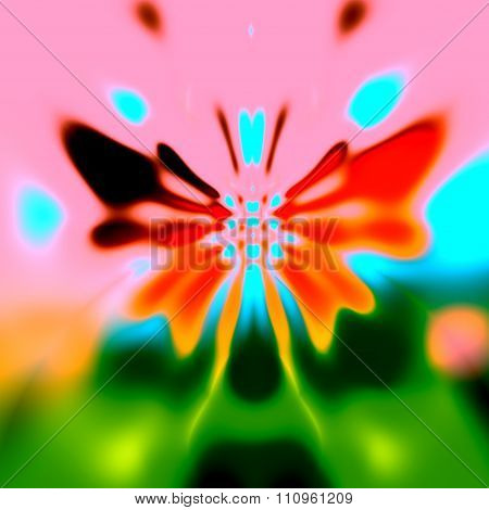 Abstract colorful butterfly on blurry nature-like background. Art deco style. Full frame pic.