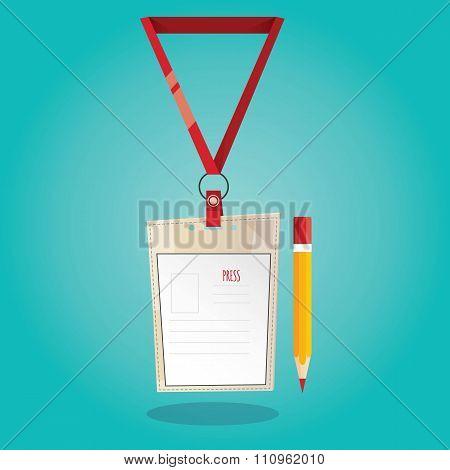 Modern Vector Illustration Of Press Card On Blue Background