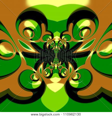 Psychedelic surrealistic shapes effect. Crazy ornate deco. Full frame picture.