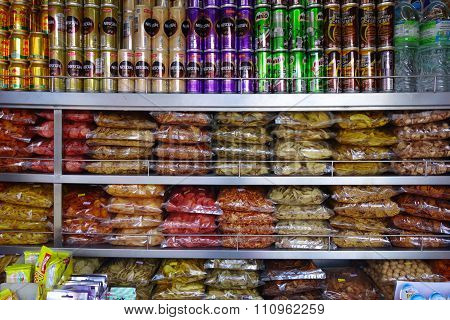 Candy And Snack Shelf In A Retail Store