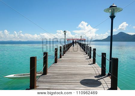 Long Jetty With Beautiful View Turquoise Water