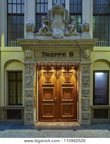Leipzig Germany illuminated vintage door